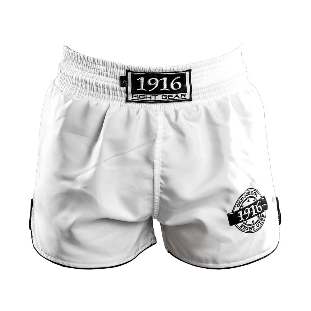 1916 kickboksbroek old school wit